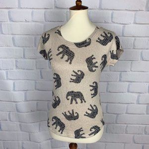 Gaze Tan Elephant Print Shirt Stretch Top S